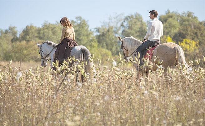 一緒に乗馬をするカップル