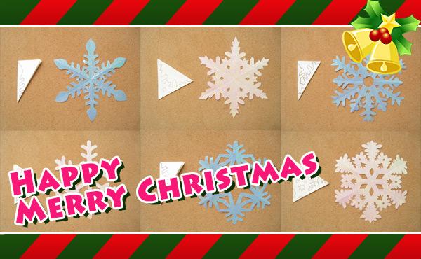 クリスマス飾りを手作り・雪の結晶の切り絵の型紙と作り方