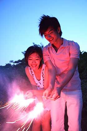手持ち花火デートを楽しむカップル