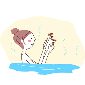 秋の夜長はお風呂でゆっくり読書しましょ♪
