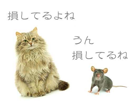 人世損しているとアドバイスくれる猫とネズミ