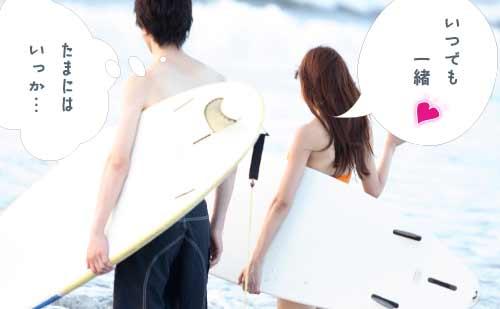 サーフィンを楽しむカップル
