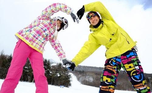 スキー場で人文字